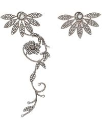 Burberry Half Daisy Crystal Silver Tone Clip-on Asymmetric Stud Drop Earrings - Metallic
