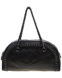 Chanel - Black Leather Medium Chain Trim Luxe Ligne Bowler Bag - Lyst