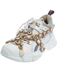 Gucci White Leather And Mesh Flashtrek Removable Crystals Trainer