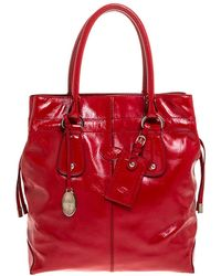 Tod's Red Patent Leather Drawstring Tote - Black