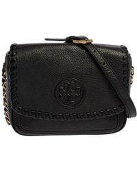 Tory Burch Black Leather Marion Flap Crossbody Bag