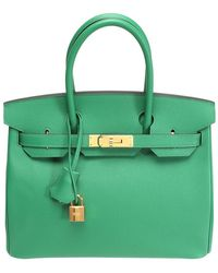Hermès Green Epsom Leather Gold Hardware Birkin 30 Bag