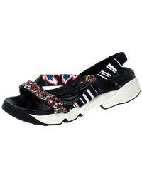Dior Multicolour Sequin And Cotton Fabric Trio Fusion Slingback Sandals Size 37 - Black