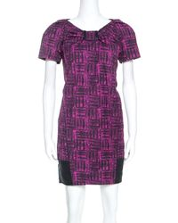 Marc By Marc Jacobs - Magenta Printed Cotton Blend Canvas Dress S - Lyst
