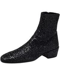 Saint Laurent Saint Laurent Black Glitter Chelsea Ankle Boot