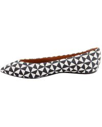 Isabel Marant Monochrome Printed Canvas Pointed Toe Ballet Flats - White