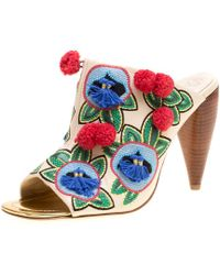 Tory Burch Multicolour Embroidered Leather Ellis Peep Toe Mules Size 41
