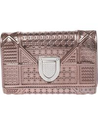 Dior Metallic Rose Gold Micro Cannage Patent Leather Ama Trifold Wallet