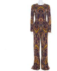 Etro Multicolour Printed Crepe Long Sleeve Wide Leg Jumpsuit M
