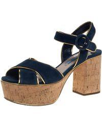Prada Blue/gold Suede And Leather Platform Sandals