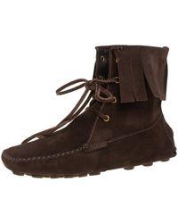 Saint Laurent Saint Laurent Dark Brown Suede Fringe Lace Ankle Boots