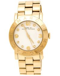 Marc By Marc Jacobs White Yellow Gold Plated Stainless Steel Amy Mbm3056 Women's Wristwatch 36 Mm - Metallic