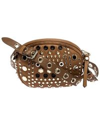 Marc By Marc Jacobs Tan Studded Leather Round Crossbody Bag - Brown