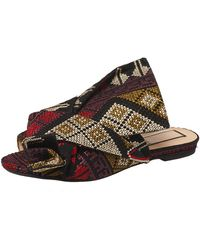 N°21 Multicolour Embroidered Fabric Knot Flat Slides - Brown