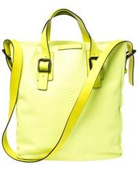Marc By Marc Jacobs Neon Lime Python Embossed Leather Buckle Shopper Tote - Green