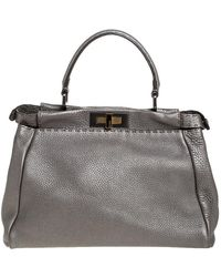 Fendi Metallic Grey Selleria Leather
