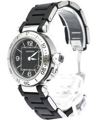 Cartier Black Stainless Steel Pasha Seatimer 3025 Women's Wristwatch 33 Mm