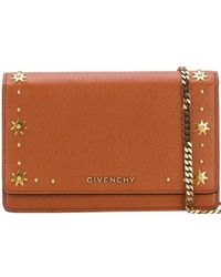 Givenchy Brown Studded Leather Pandora Wallet With Chain