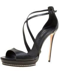 Casadei Black Leather Cross Strap Platform Sandals