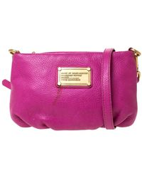 Marc By Marc Jacobs Magenta Leather Classic Q Percy Crossbody Bag - Pink