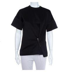 Balenciaga Black Neoprene Pin Detail Asymmetric Draped Top
