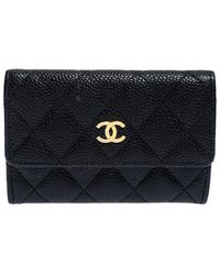Chanel Black Quilted Leather Cc Flap Compact Wallet