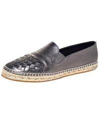 Bottega Veneta Metallic Gunmetal Leather Intrecciato Leather Espadrille Sneakers