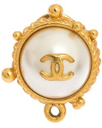 Chanel Cc Faux Pearl Gold Tone Round Pin Brooch - Metallic