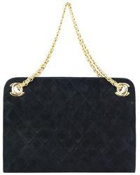 Chanel - Quilted Suede Shoulder Bag - Lyst