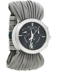 Nina Ricci Black Stainless Steel Diamonds N021.15 Quartz Chronograph Wristwatch