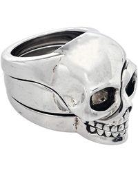 Alexander McQueen Divided Skull Silver Tone Ring - Metallic
