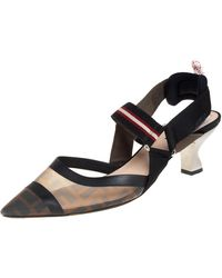 Fendi Brown Zucca Mesh And Leather Colibri Slingback Sandals