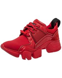 Givenchy Red Neoprene And Leather Jaw Low Top Trainers