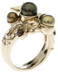 Chanel - Star Comete Crystal Faux Pearl Tone Ring - Lyst