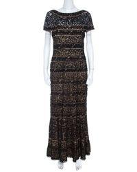 Tadashi Shoji Black Lace Panelled Overlay Sheer Yoke Gown