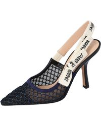 Dior Deep Blue Mesh Embroidered Ribbon J'a Slingback Court Shoes Size 37