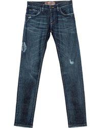 Dolce & Gabbana Indigo Faded Effect Denim Distressed Jeans - Blue