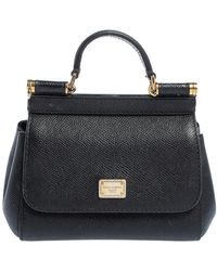 Dolce & Gabbana Black Leather Micro Miss Sicily Top Handle Bag