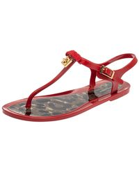 Dolce & Gabbana Dolce And Gabbana Red Patent Leather Jelly Bow Thong Flat Sandals