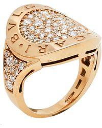 BVLGARI Pave Diamond 18k Rose Gold Ring - Metallic