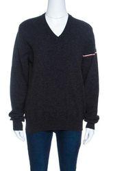 Moncler Grey Wool Stripe Detail Ribbed Trim V-neck Jumper L - Gray