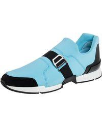 Hermès - Blue/black Neoprene And Suede Run Round Toe Sneakers - Lyst