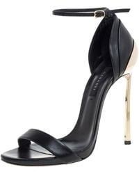 Casadei Black/gold Leather Metal Heels Ankle Strap Sandals