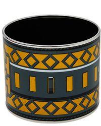 Hermès Hermès Bicolor Collier De Chien Print Enamel Mega Wide Bracelet - Black