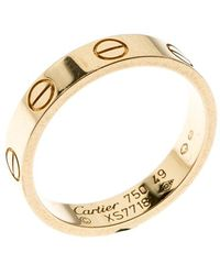 Cartier Love 18k Yellow Gold Mini Band Ring Size 49 - Metallic