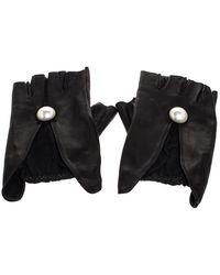 Chanel Black Leather Cc Pearl Fingerless Gloves