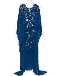 Roberto Cavalli Peacock Blue Silk Embellished Kaftan Dress L