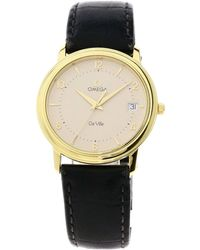 Omega Cream 18k Yellow Gold De Ville Quartz Men's Wristwatch 34 Mm - Metallic