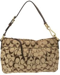 COACH Beige/brown Signature Canvas And Leather Hampton Hobo - Natural