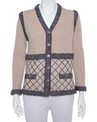 Chanel Beige Silk & Cashmere Contrast Trim Detail Button Front Cardigan - Natural